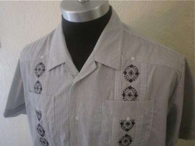 Embroidered Guayabera Bartender Cigar Cuban Lounge Mexican shirt XL