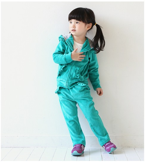Baby Toddler Kid Girl Velour Outfit Set Top Pants Green Pink Purple 2 3 4 5 6 7