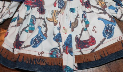 Vintage Baby Girl Toddler Cowgirl Boots Denim Fringe Dress 18 Mo EUC