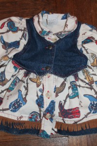 LITTLE ME Vintage Baby Girl Toddler Cowgirl Boots Denim Fringe Dress
