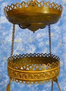 Victorian Chandelier Glass Globe Antique Crystal Prisms