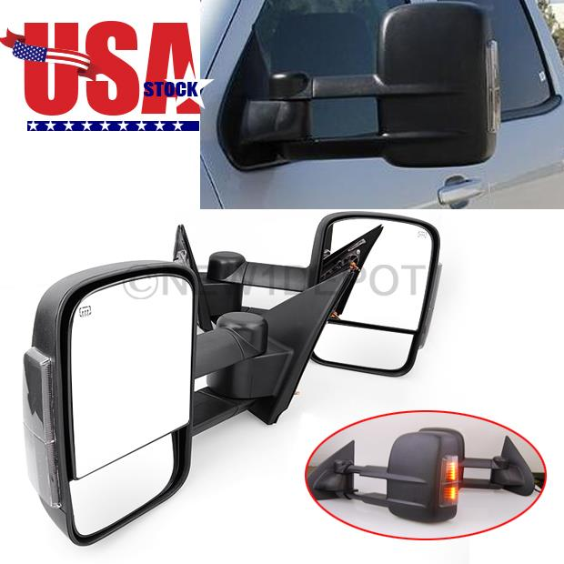 power heated towing led signal mirrors for chevy silverado 1500 2500hd 3500hd nd ebay. Black Bedroom Furniture Sets. Home Design Ideas