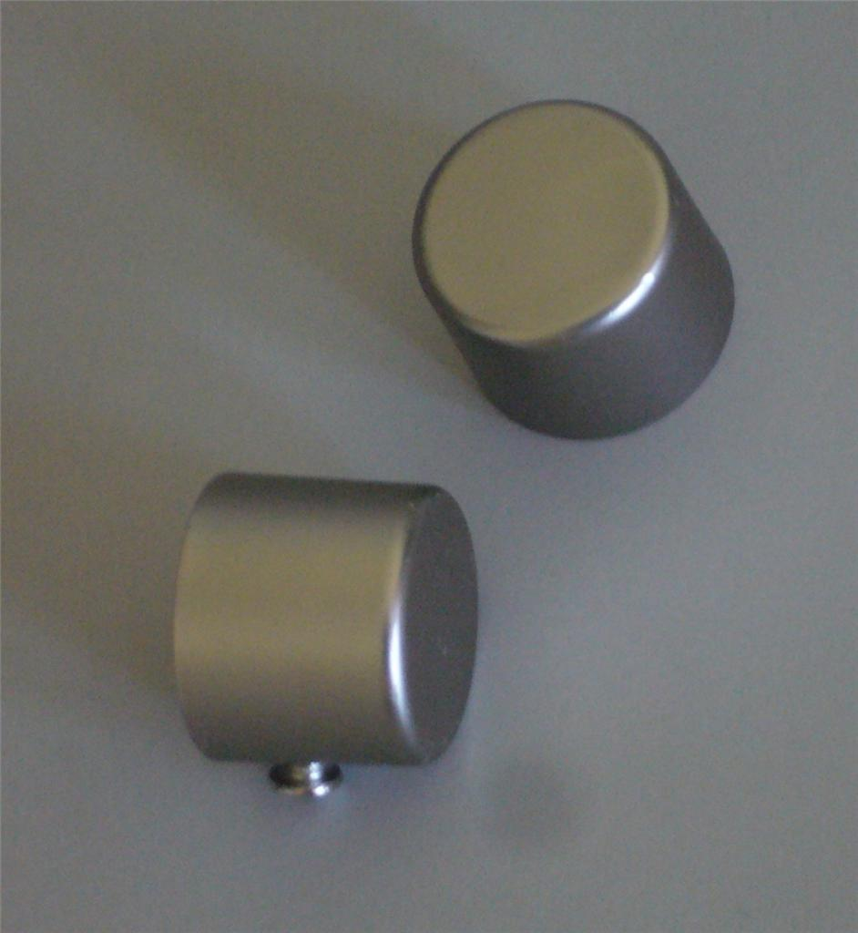Curtain Rod Finial End Cap X 2 Satin Silver For 19mm Rod