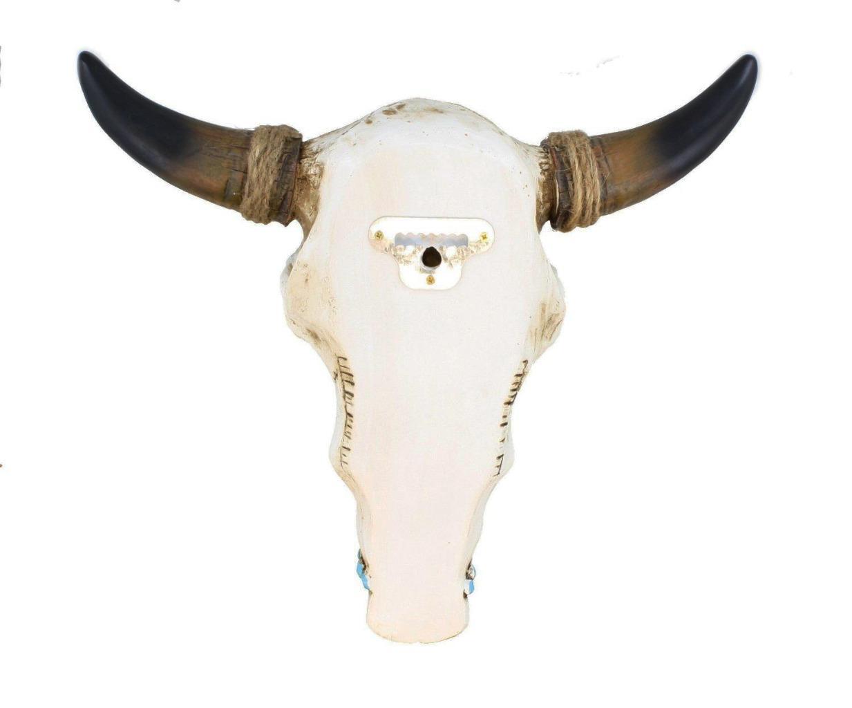 Bull Steer Cow Skull Head Horns Tooled Leather Turqoise