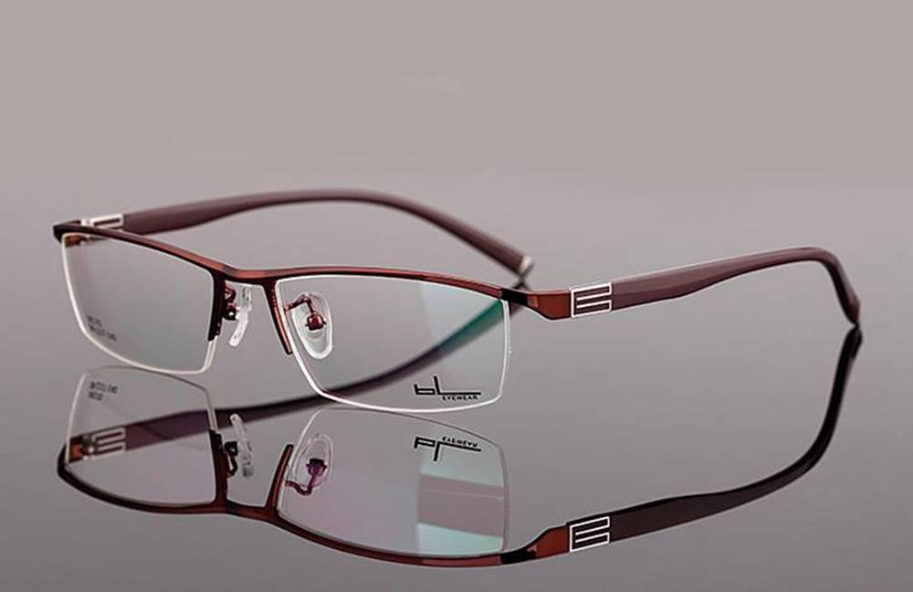 New Designer Mens Eyeglass Frames Lightweight Half Rimless