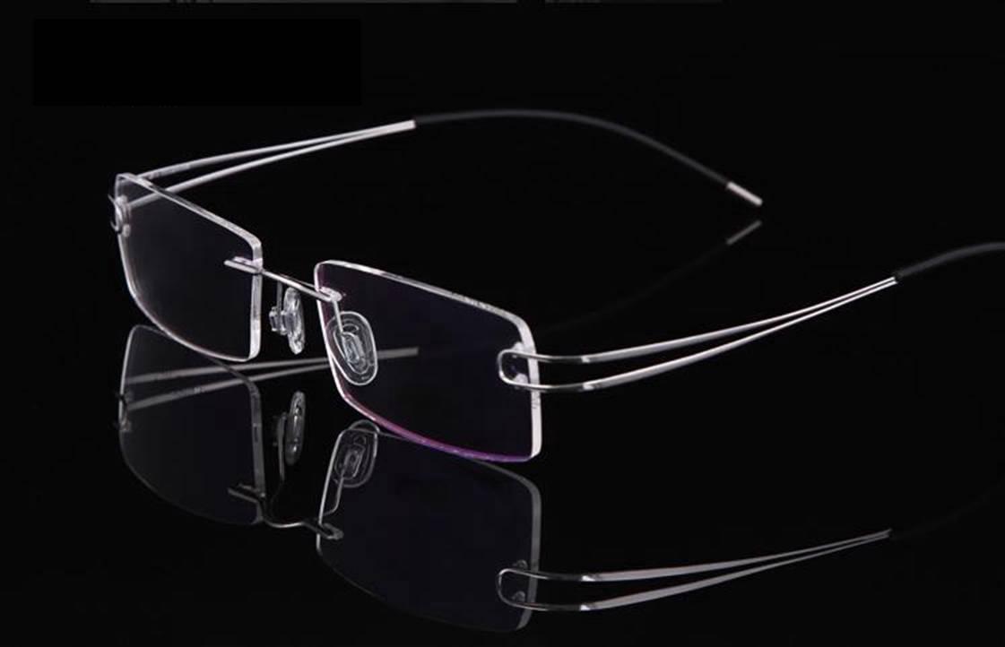 Luxury Mens Rimless Titanium Glasses Frames Eyeglasses
