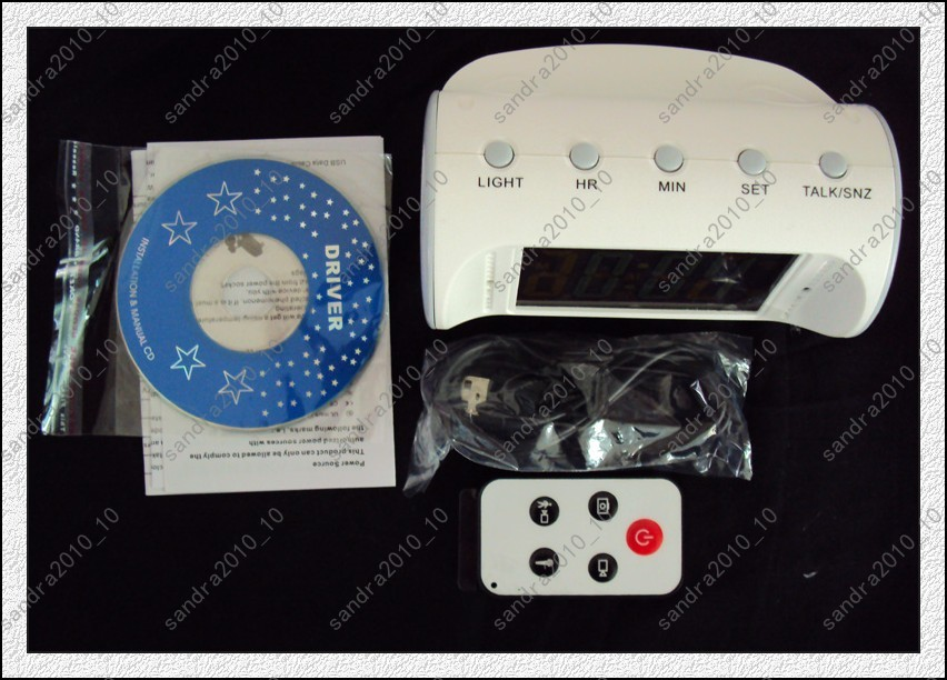 Digital Motion Detection Table Clock Spy Camera DVR White