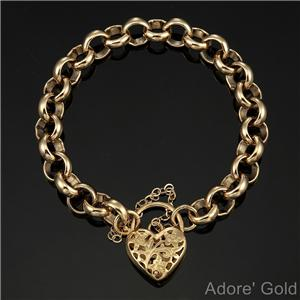 0236cee1021bf Details about 18K Yellow Gold GL Chunky Solid Women's Belcher Bracelet &  Filigree Heart Clasp