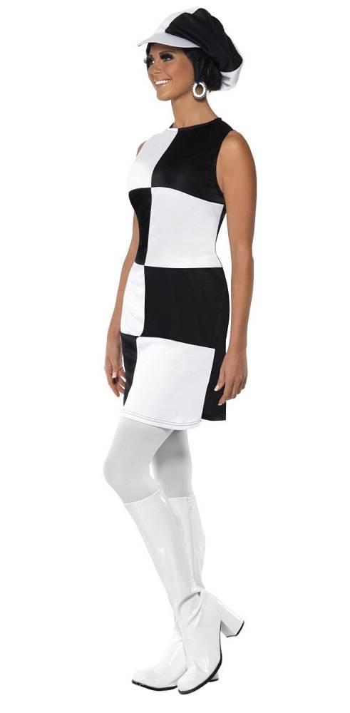 Womens 1960s Black And White Mod Girl Fancy Dress Costume