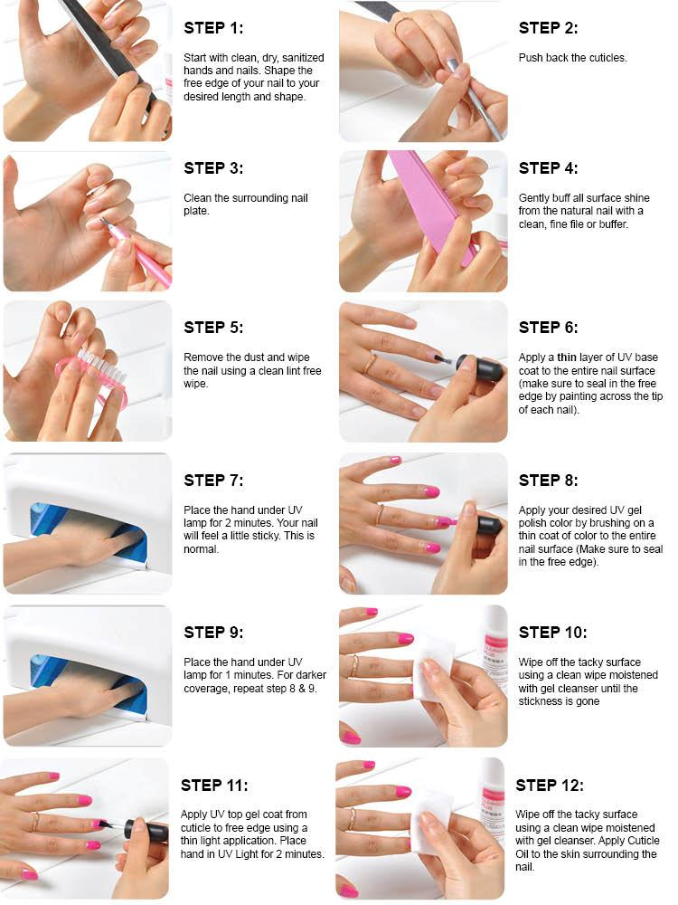 Complete kit 10 soak off uv nail gel curing polish gelish i do how to gel nail polish at home step by step instruction solutioingenieria Image collections
