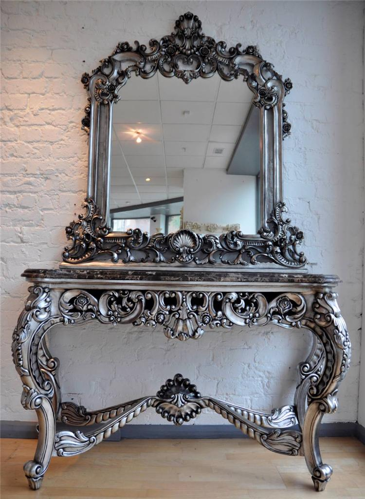 Solid Mahogany Antique Silver French Italian Ornate Marble
