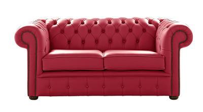Chesterfield Handmade 2 Seater Shelly Velvet Red Leather Sofa Settee