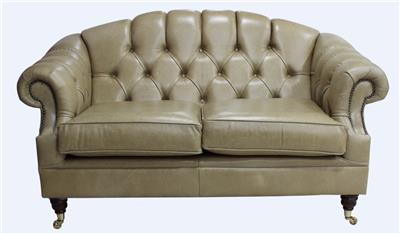 Chesterfield Victoria 2 Seater Old English Sand Leather Sofa Settee