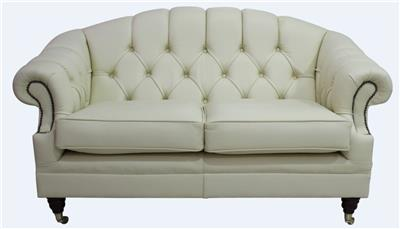 Chesterfield Victoria 2 Seater Sy Cottonseed Cream Leather Sofa Settee