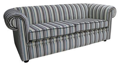 7193e49191f5 Chesterfield 1930 s 3 Seater Riga Stripe Ocean 44 Velvet Fabric Sofa ...