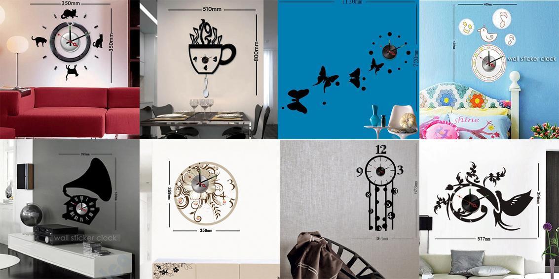 DIY Vinyl Stickers Decor Wall Metal Clock Cat Kitchen