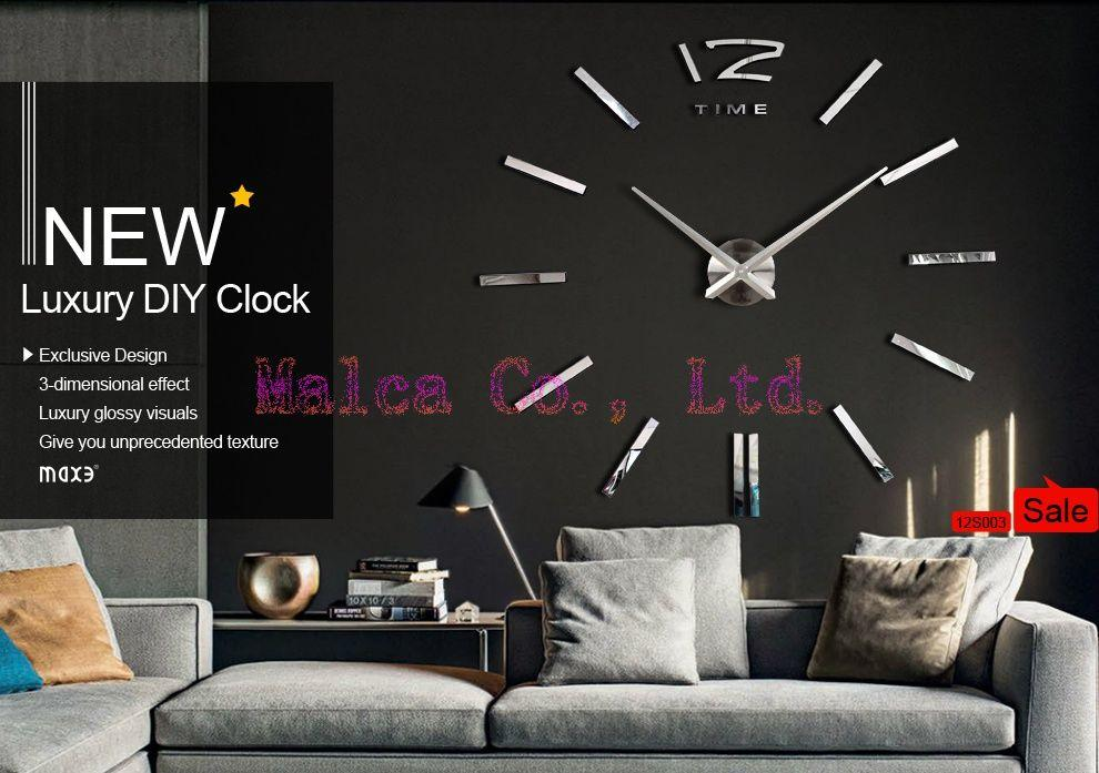 DIY 3D Modern Designs Frameless Large Wall Clock Home