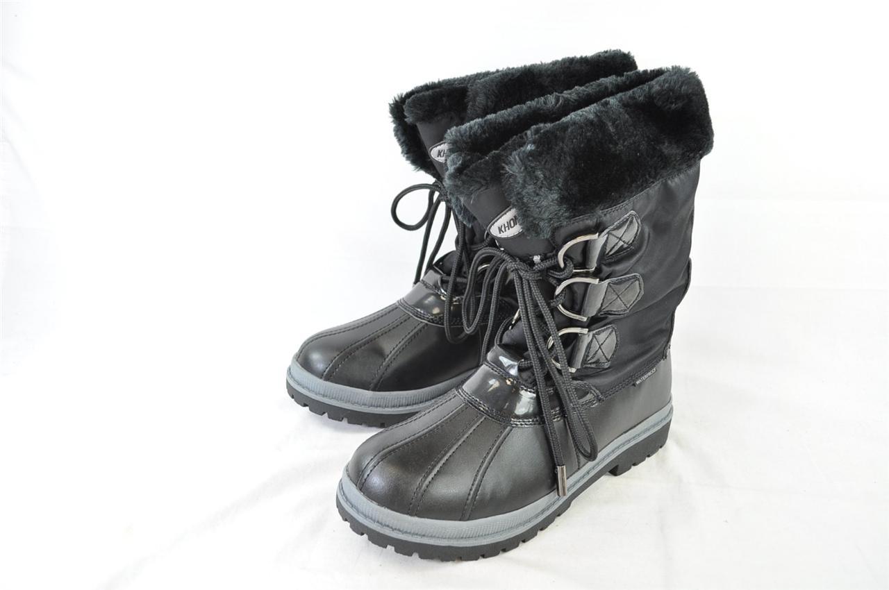 KHOMBU BIRCH BLACK FUR LINED DUCK BOOTS - WARM WINTER