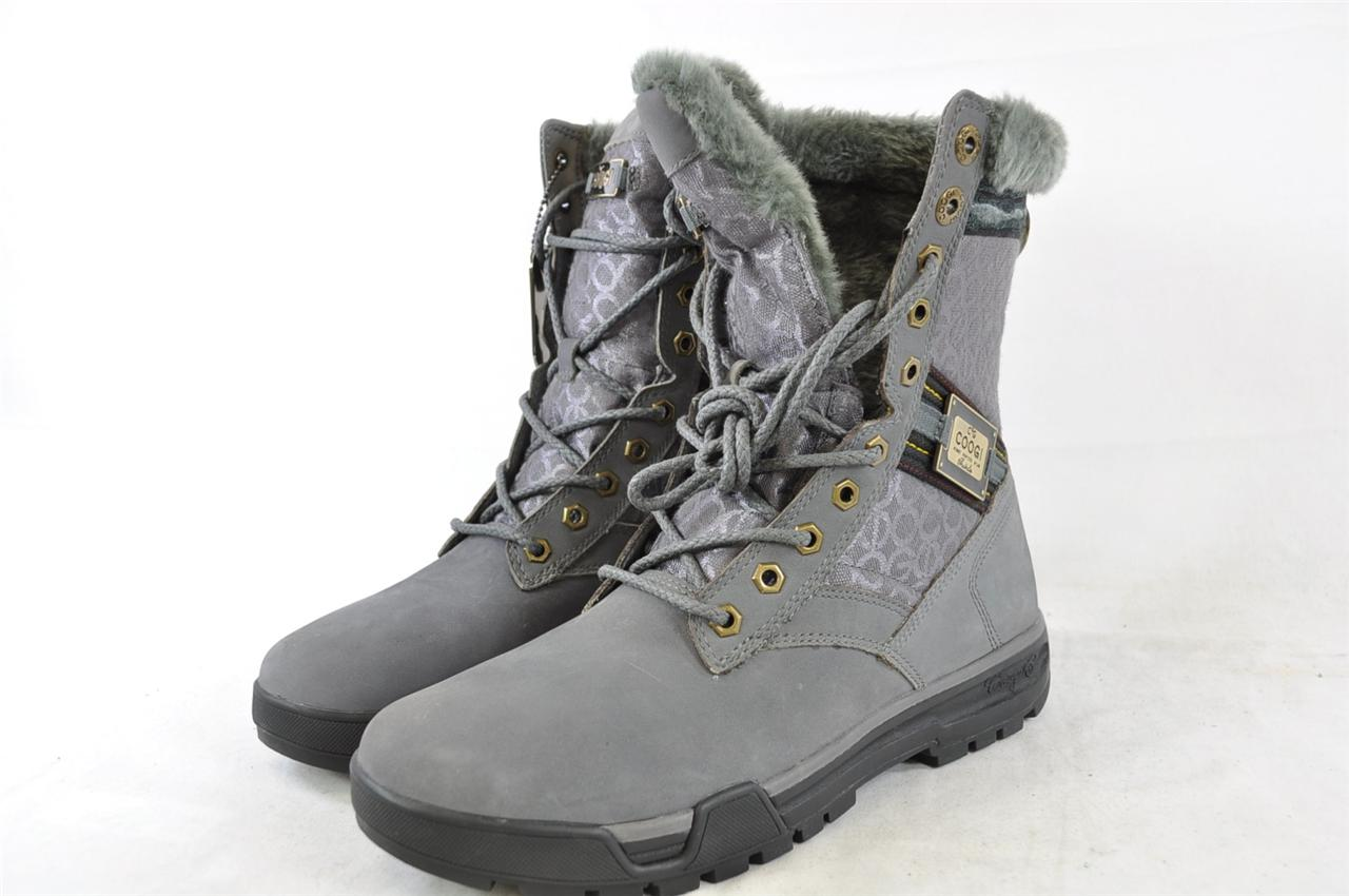 COOGI HUDSON BOOT GREY LACE UP FAUX FUR LINED WINTER BOOTS