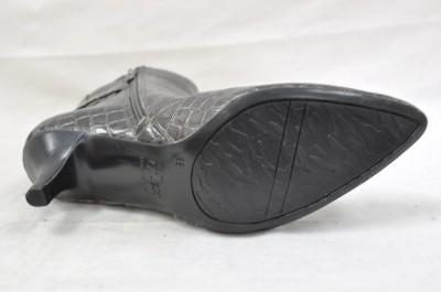 Anne Klein Dido Pewter Ankle Boot Zip Up Metallic Gator Print