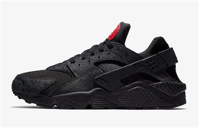 big sale 21f35 6d9d3 NIKE AIR HUARACHE RUN F RUSSIAN FLORAL EMBOSSED AO3153 001 BLACK ...