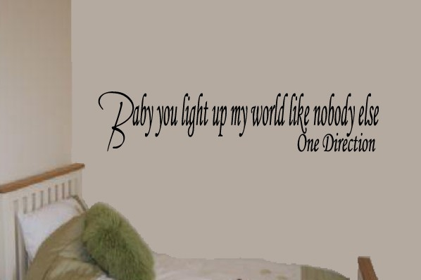 baby you light up my world one direction wall art stickers wa0089. Black Bedroom Furniture Sets. Home Design Ideas