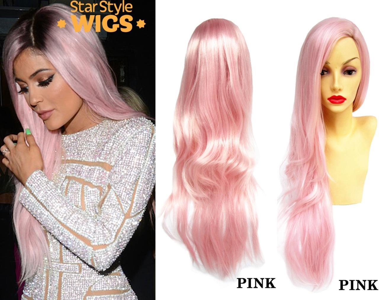 Kylie-Jenner-largo-pastel-resistente-al-calor-Pelucas-De-Moda-Verde-Rosa-Purpura-Plata