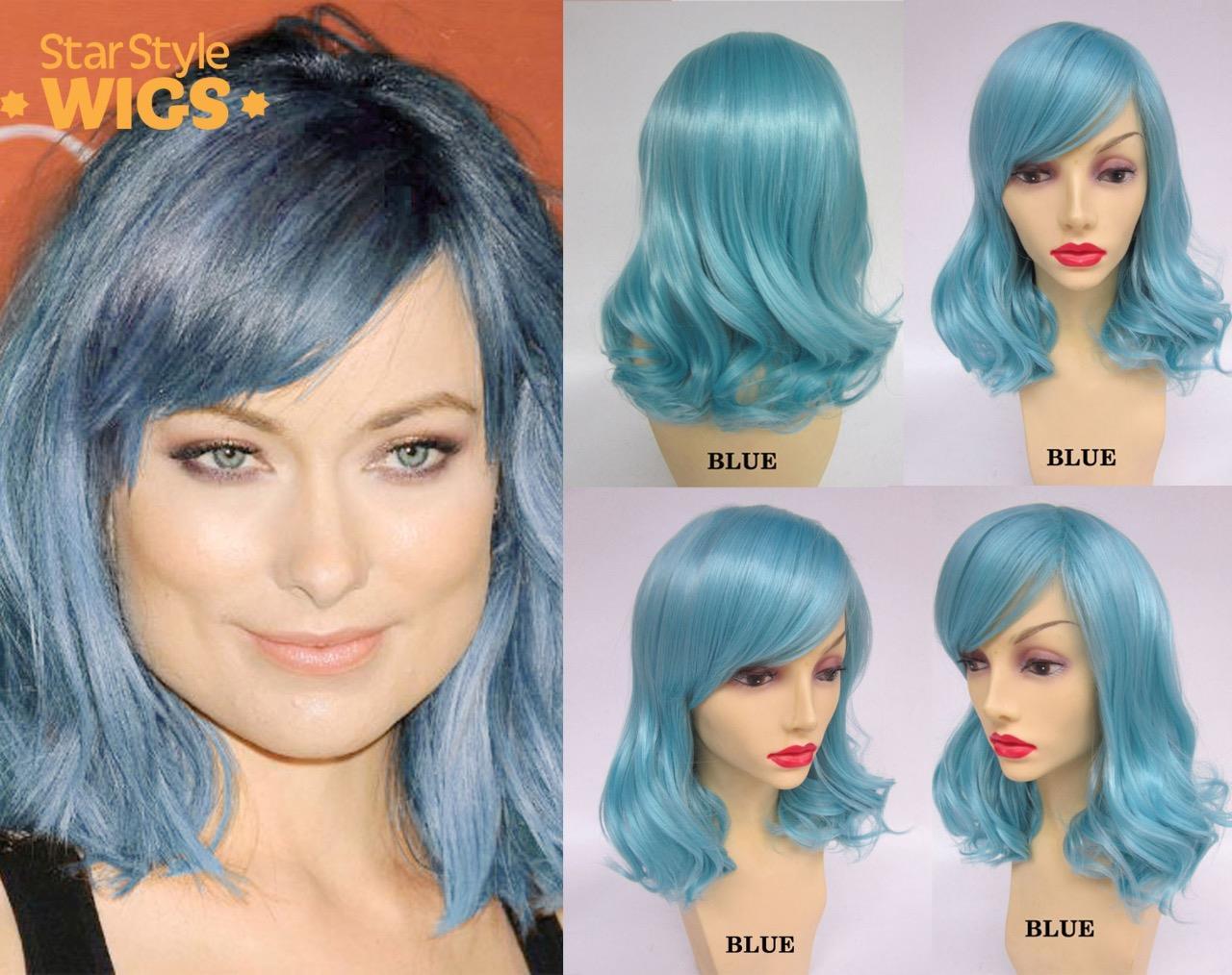 Deluxe-longitud-media-Pastel-Ondulado-Pelucas-Resistente-al-Calor-Moda-Rosa-Azul-Plata