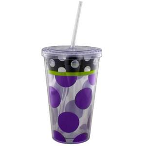 Double Wall POLKA DOT Insulated Straw Tumbler Hot Cold Cup Mug 18 oz BPA Free | eBay