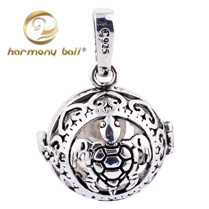 Silver Turtle Harmony Ball Chime Bell Locket Pendant Angel