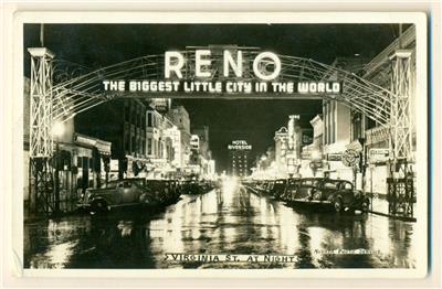 Vintage 1943 Reno Nevada Nv Virginia City At Night Ebay