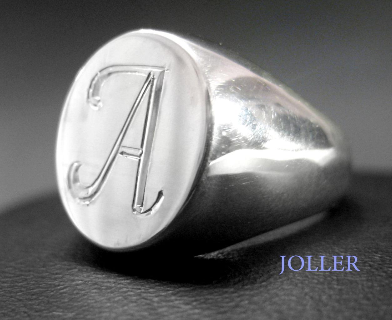 signet ring custom engraved monogram sterling silver matte. Black Bedroom Furniture Sets. Home Design Ideas