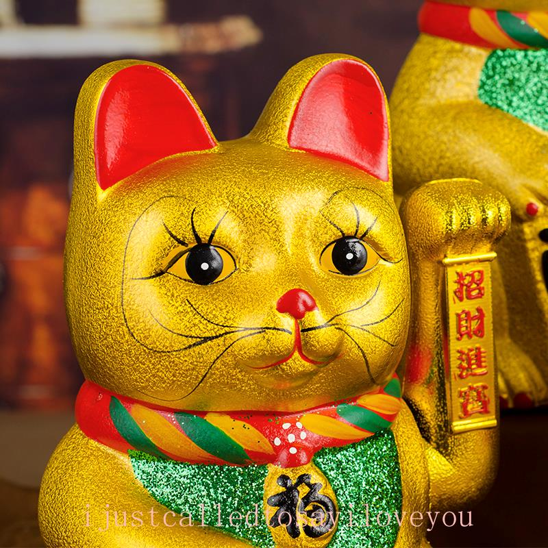 "LUCKY BECKONING-CAT 5/"" Gold Wealth Waving Kitty Maneki Neko Feng Shui Japan L3X0"