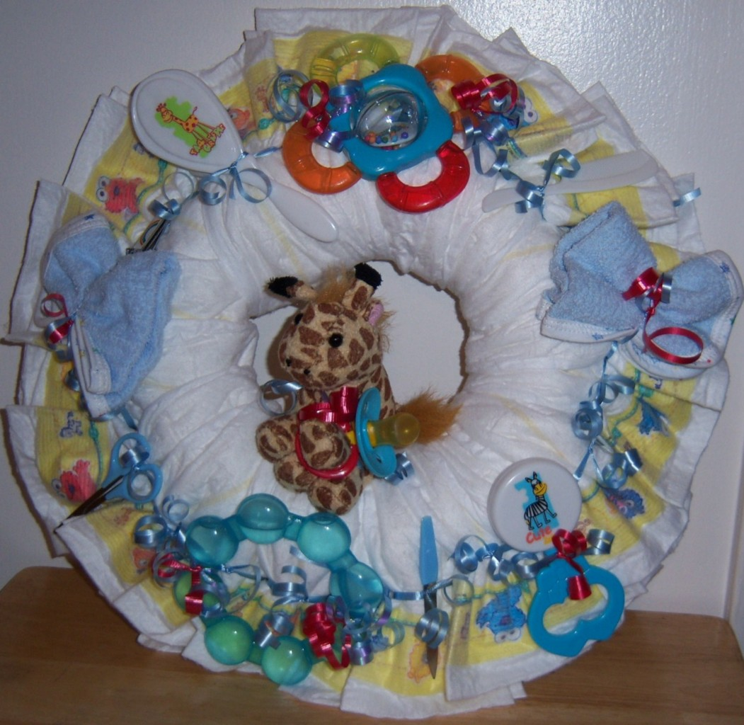 Precious Moments Baby Shower Cakes: Baby Shower Diaper Wreath, Winnie The Pooh, Cars, Precious