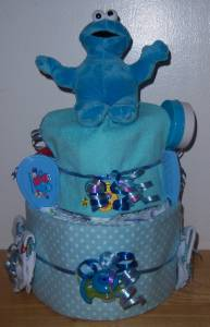 Baby Shower 2 Tier Sesame Street Diaper Cake Elmo Cookie