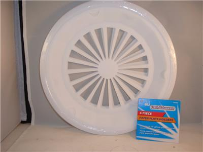 Sturdy support for styrofoam plastic or paper disposable plates. Dishwasher and microwave safe. & 4 NEW PLASTIC PAPER PLATE HOLDERS WHITE 3 TAB STYLE HOLDER ...