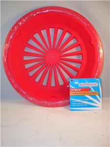 4 NEW PLASTIC PAPER PLATE HOLDER RED 3 TAB STYLE HOLDER & 4 NEW PLASTIC PAPER PLATE HOLDERS RED 3 TAB STYLE HOLDER ...