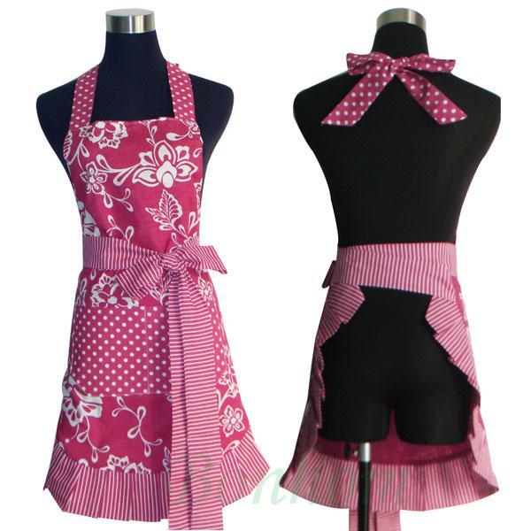 Details about 100% Cotton Vintage Apron - Retro Apron - Kitchen Apron -  Ruffled Cooking Apron
