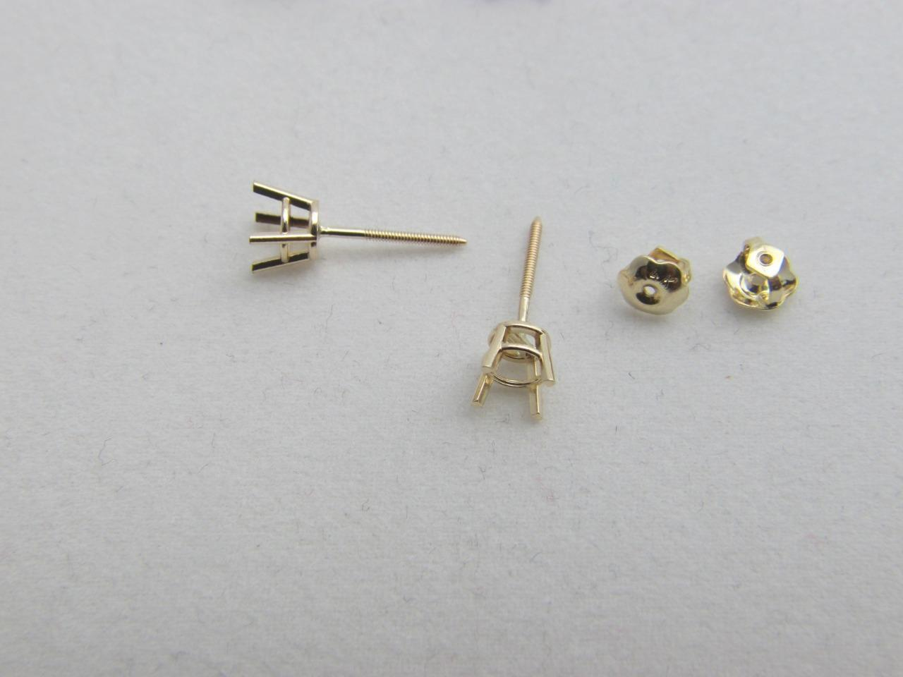 Solid 14k Yellow White Gold Basket Earring Setting