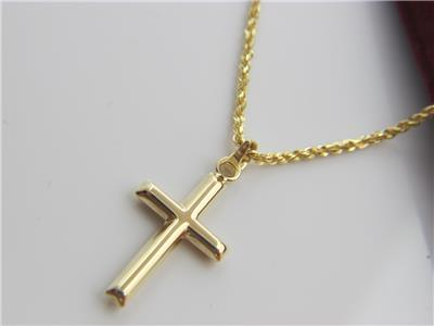 Real 10Kt Yellow Gold CROSS Pendant  Necklace & Solid 10k gold ROPE 18inch Chain