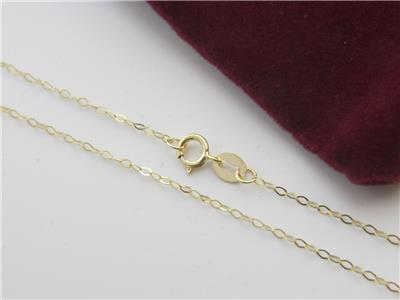 Solid 10Kt yellow Gold 1.3mm Flat Cable Chain Necklace  real gold 10k