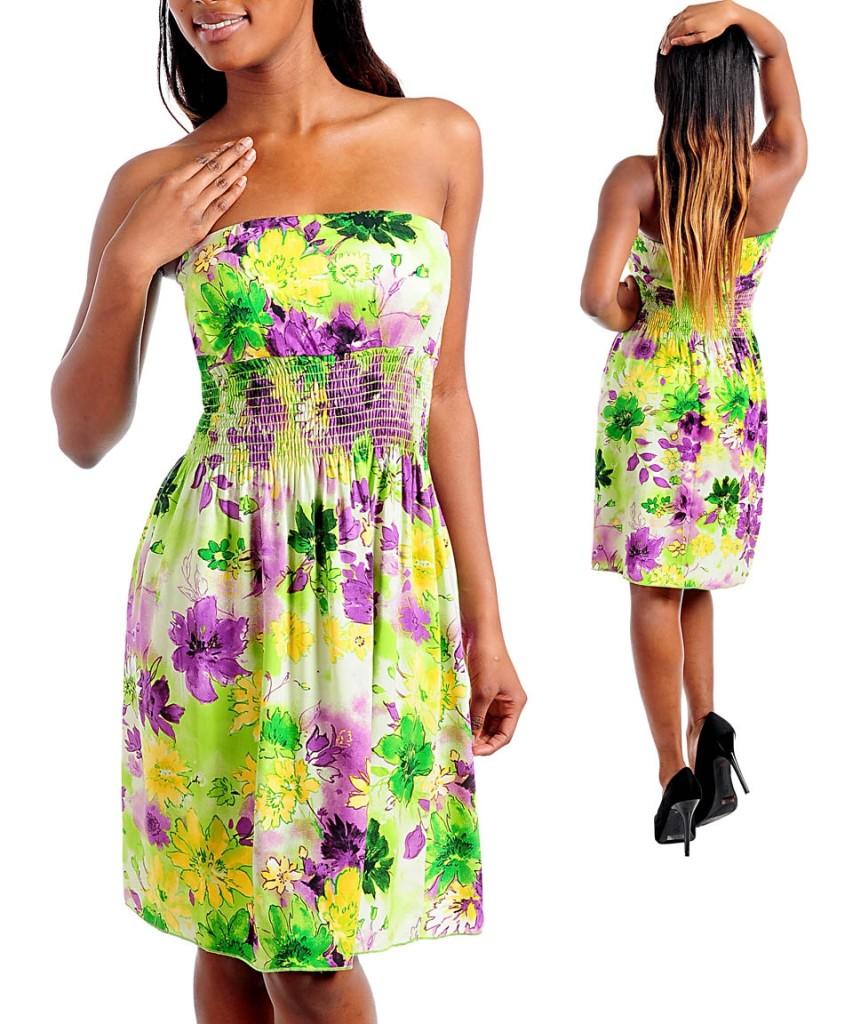 """Viavai USA"" Green Strapless Floral Short Maxi Sundress ... - photo#17"