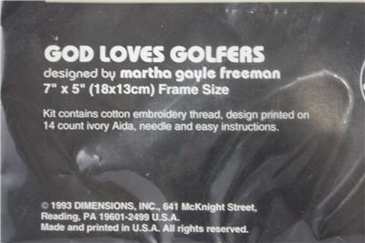 Details about No Count Cross Stitch Kit God Loves Golfers NEW Complete