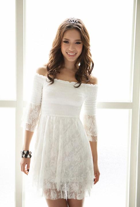 Korea Women Off Shoulder Layer Lace Top Mini Dresses
