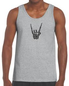 Biker Goth Gothic Revolution Skull Wings Mens Charcoal Muscle T Tank Top Vest