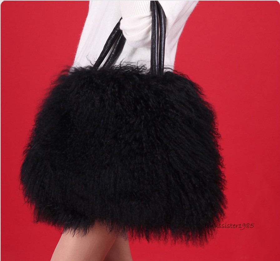 01de314e006 Details about New Large Real Top Long Lamb Fur/Mongolian Fur Bag Handbag/Wool  Fur Bag