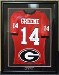 David Greene Autographed Georgia Framed Jersey Logo Plate COA