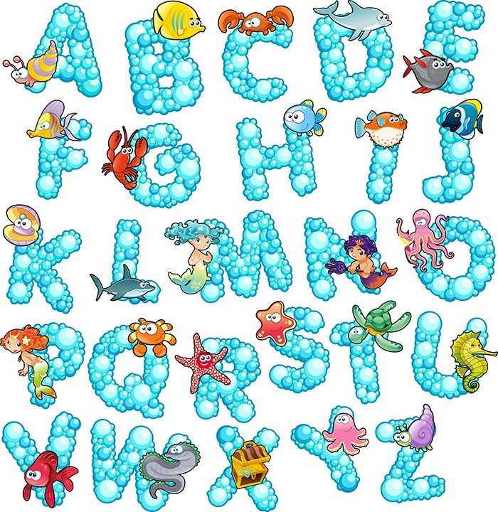 Marine Animals Alphabet Letters Removable Wall Sticker