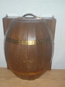Vintage Slat Wood Barrel Bar Liquor Cabinet Wall Mount Bar