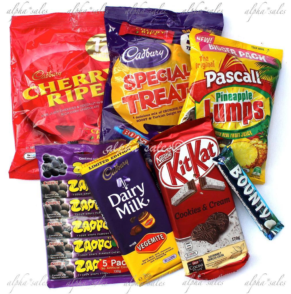 Aussie lollie candy Cadbury pack vegemite chocolate cherry ...